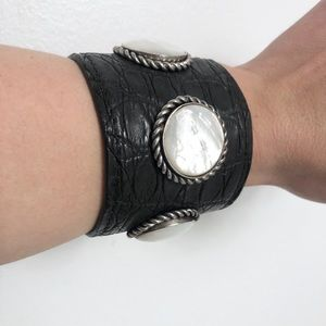 Faux leather cuff with big stones